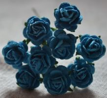 1 cm DEEP TURQUOISE Mulberry Paper Roses